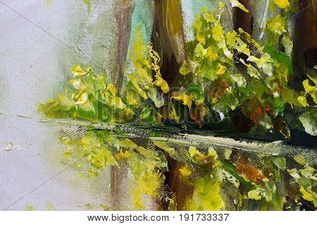 Portion of original oil painting on canvas. Beautiful landscape. Modern impressionism art. - Modern impressionism painting.