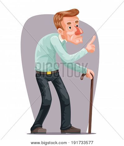 Old Man Bent Walking Wise Moral Preaching Instruction Senile Old Dementia Cane Character Cartoon Design Vector Illustration