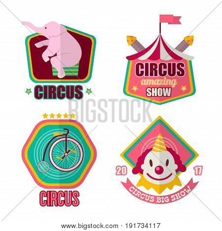 Big amazing circus show 2017 promotional emblems with pink elephant sits on hind legs, compact unicycle, clown face and striped tent with flag on top isolated vector illustrations on white background.