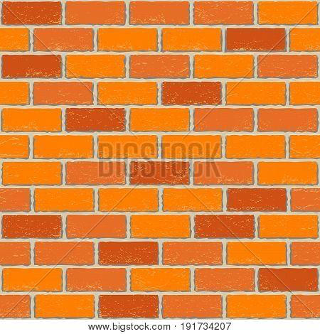 Red old brick seamless background texture. Dark wall light cement seam