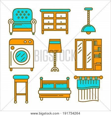 Soft armchair, compact commode, simple chandelier, capacious washing machine, floor lamp, chest of drawers with mirror, bar stool, comfortable bed and plain curtain vector illustrations set.