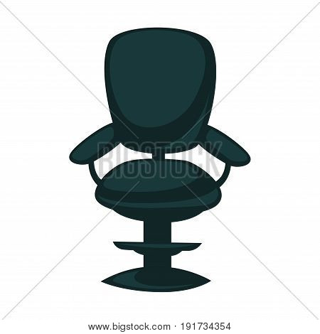 Office chair in black color with one leg, back and two armrests isolated on white. Close up vector illustration in flat design of comfortable piece of furniture for sitting and working at table