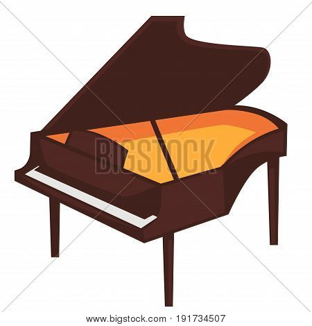 Big brown piano of classic shape with open top and bright orange surface inside isolated flat cartoon vector illustration on white background. Musical instrument for beautiful melodies creation.