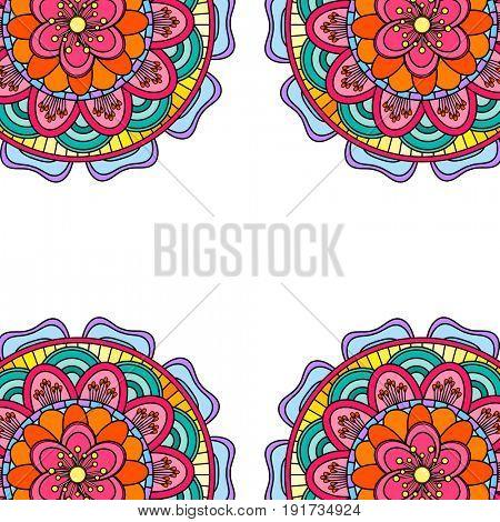 Coloring mandala border isolated on a white background, oriental ethnic boho element,  vintage arabic floral design, decorative indian doodle illustration.