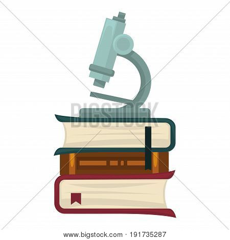 Microscope with big zoom for biological researches that stands on pile of thick textbooks with bookmarks isolated vector illustration on white background. Equipment for discoveries and observations.