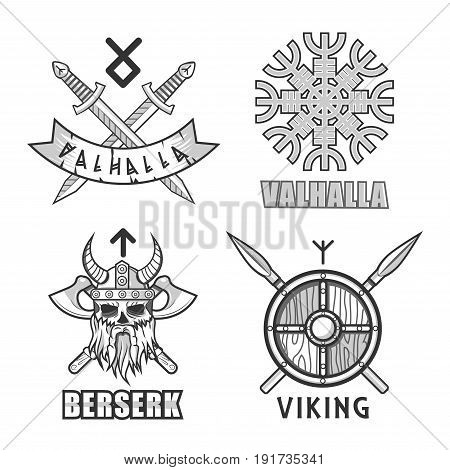 Authentic Vikings themed logo with Valhalla and berserk signs, crossed swords, old Scandinavian hieroglyph, skull in helmet with horns and crossed axes, wooden shield and spears vector illustrations.