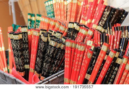 ISHSIKAWA JAPAN - MAY 5, 2017: Lacquerware chopsticks  at Wajima Asaishi street market. Asaichi is one of the top 3 mating street market in Japan.