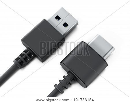 USB type C and USB 3.0 format cables isolated on white background. 3D illustration.