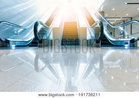Modern escalator and architecture interior design., Business concept.