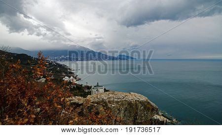 Panoramic view in the direction of Yalta from the Tsar's path in Crimea. Beautiful sea, mountain and sky