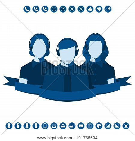 Male and female silhouettes of call center operators with headset. Customer service representative, faceless man and woman. Vector icon set in flat style.