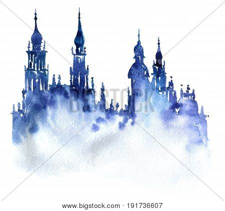 watercolor silhouette of city, towers with a spires, hand drawn illustration, banner template