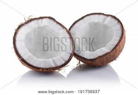 Healthy Food. Fresh Half Of Coconut