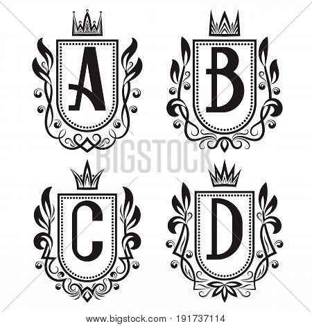 Royal coat of arms set in medieval style. Vintage logos with A B C D monogram.