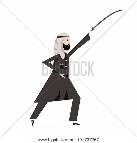 Arab man in black arabian national dress holding a sword over head. Vector illustration.