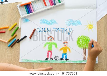 Happy Child Drawing Father's Day Card With Polish Words