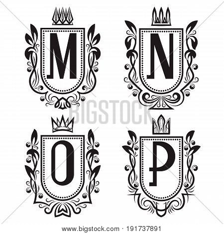 Royal coat of arms set in medieval style. Vintage logos with M N O P monogram.