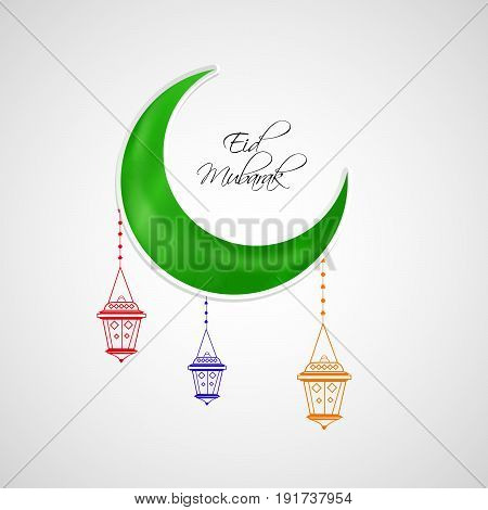 illustration of Mosque with eid mubarak text on occasion of Muslim festival Eid