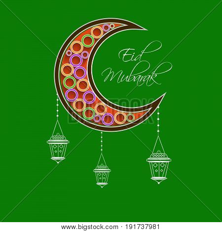 illustration of Moon and hanging lamps with eid mubarak text on occasion of Muslim festival Eid