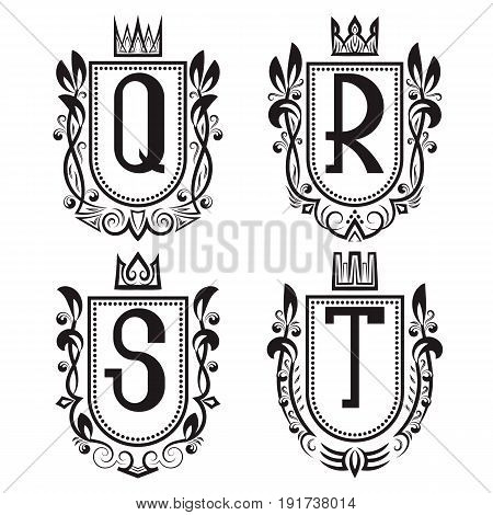 Royal coat of arms set in medieval style. Vintage logos with Q R S T monogram.