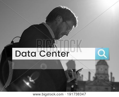 Data Center Web Search Bar Tool Box Magnifying Glass Graphic