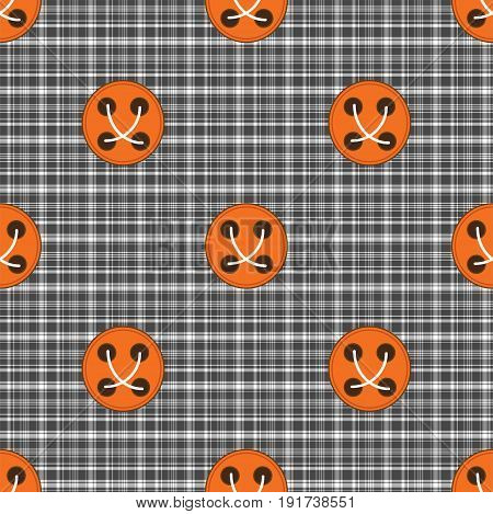 plaid material with orange buttons button seamless pattern gray cell