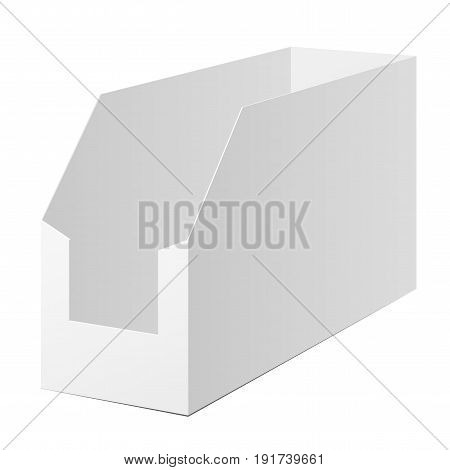 White Cardboard POS POI. Holding box Prepackaged goods Mock up for brand template. vector illustration.