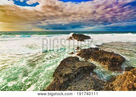 Coastal view at sunrise. Mauritius.