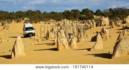 Numbung National Park, Western Australia MAY 20 2017: Campervan in The Pinnacles Desert, a major tourist attraction in Western Australia