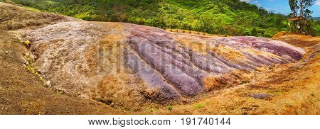 View of the coloured earth. Mauritius. Panorama
