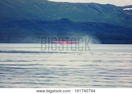 Seaplane in Alaska. Summer season.