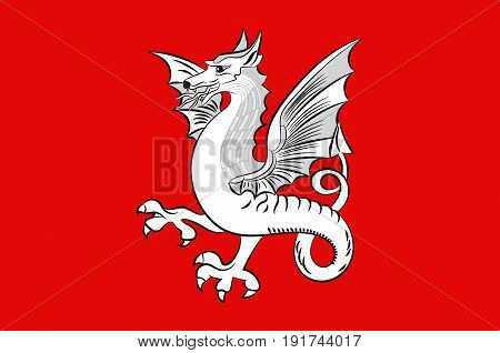 Flag of Draguignan is a commune in the Var department in the Provence-Alpes-Cote d'Azur region in southeastern France. Vector illustration