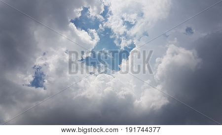 The Layer Dark And White Of Clouds In Blue Sky