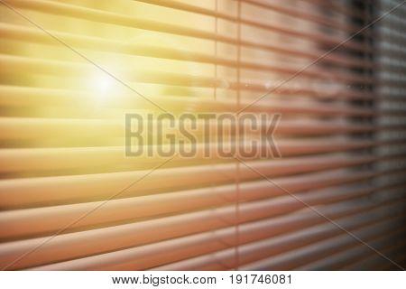 window blinds on sun set for business presentation