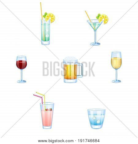 Alcoholic drinks and non alcoholic drinks with glasses isolated. Vector set of different beverages