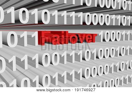 Failover in the form of binary code, 3D illustration