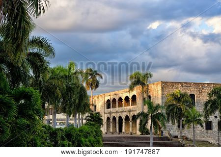Santo Domingo Dominican Republic Plaza Espana Alcazar de Colon in the sunset Colonial Zone UNESCO World Heritage Site