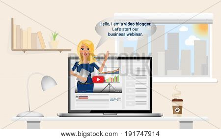 Watching business webinar at your home. Woman video blgogger making online presentation. Flat Vector Illustration.