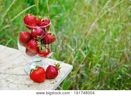 Red ripe strawberry in a glass goblet on the edge of a wooden table on a background of green grass in a bright summer day nature