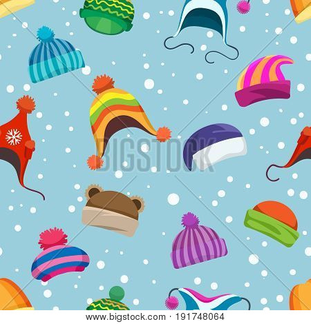 Retro winter clothes seamless pattern. Warm woolly and knitted hats vector background