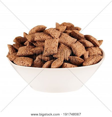 Chocolate pads corn flakes in white bowl isolated on white background. Cereals.
