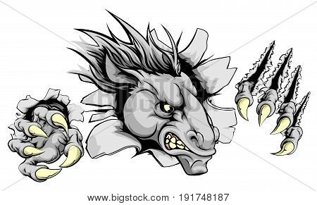 Horse sports mascot breakthrough concept of a horse sports mascot or character breaking out of the background or wall