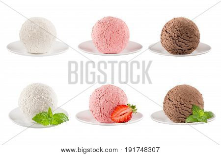 Ice cream scoops collection of six balls on plate - creamy strawberry chocolate - decorated mint leaves slice berry. Isolated on white background. Template for menu.