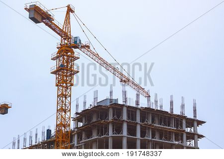 New group of construction building tenement apartment houses,structural Building and cranes