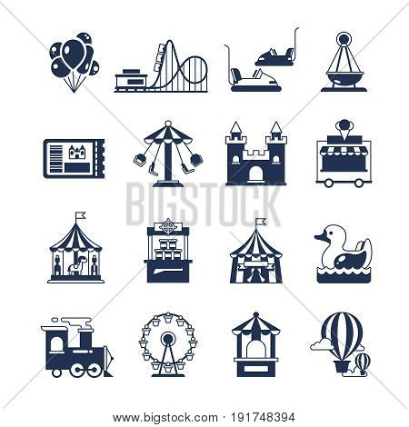 Carnival in amusement park with carousel and circus. Attractions vector icon. Attraction and carnival with carousel for park amusement illustration