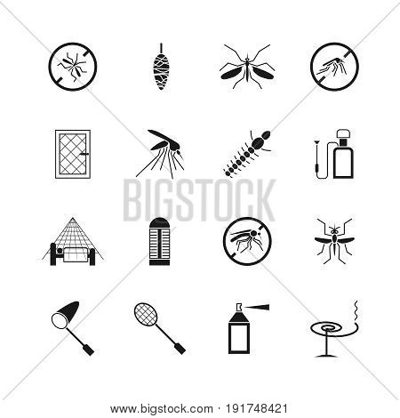 Mosquito prevent and control vector icons. Ban mosquito symbol illustration
