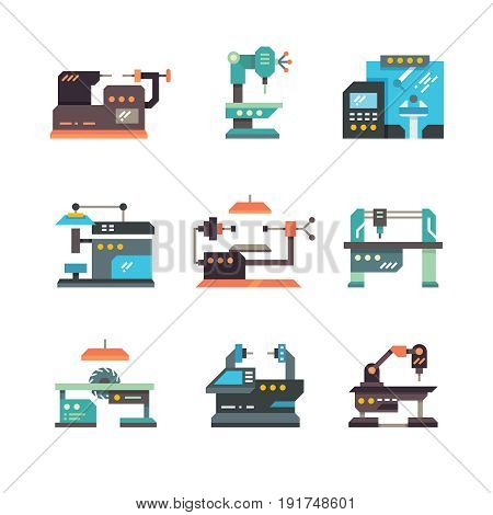 Industrial cnc machine tools and automated machines flat icons. Machine equipment for factory industry, illustration of industrial, production