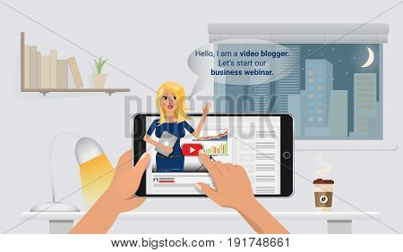 Woman video blogger in smart phone. Concept blogging. Digital blog. Flat Vector Illustration.