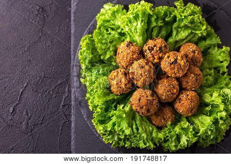 Homemade Falafel With Salad. Jewish Cuisine. Top View
