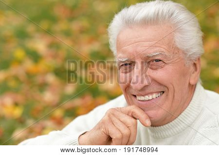 Portrait of smiling senior man outdoors holding hand on chin